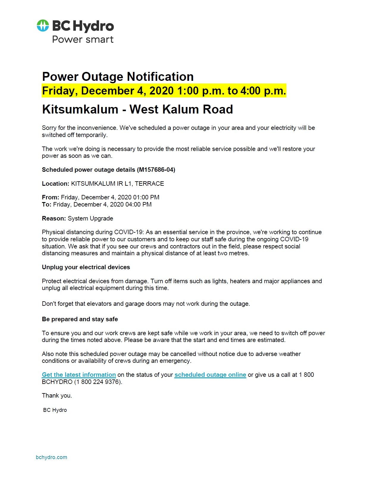 Planned Power Outage – West Kalum Road Kitsumkalum DEC 4th