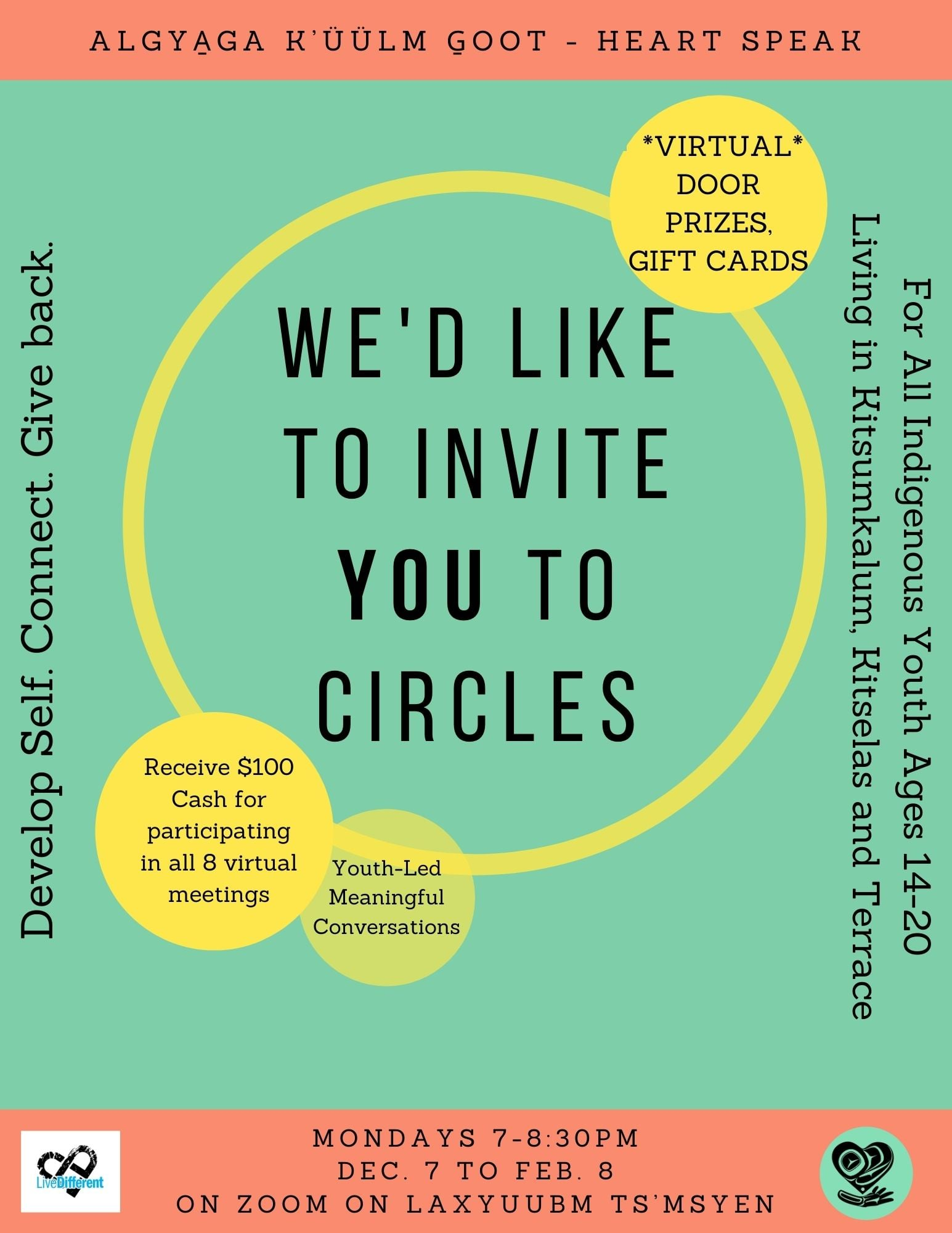Circles with Algya̱ga K'üülm G̱oot!  ONLINE Youth Group