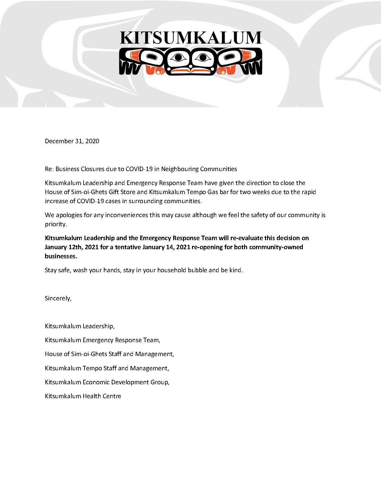 Kitsumkalum Business Closures Due to COVID-19 in Neighbouring Communities
