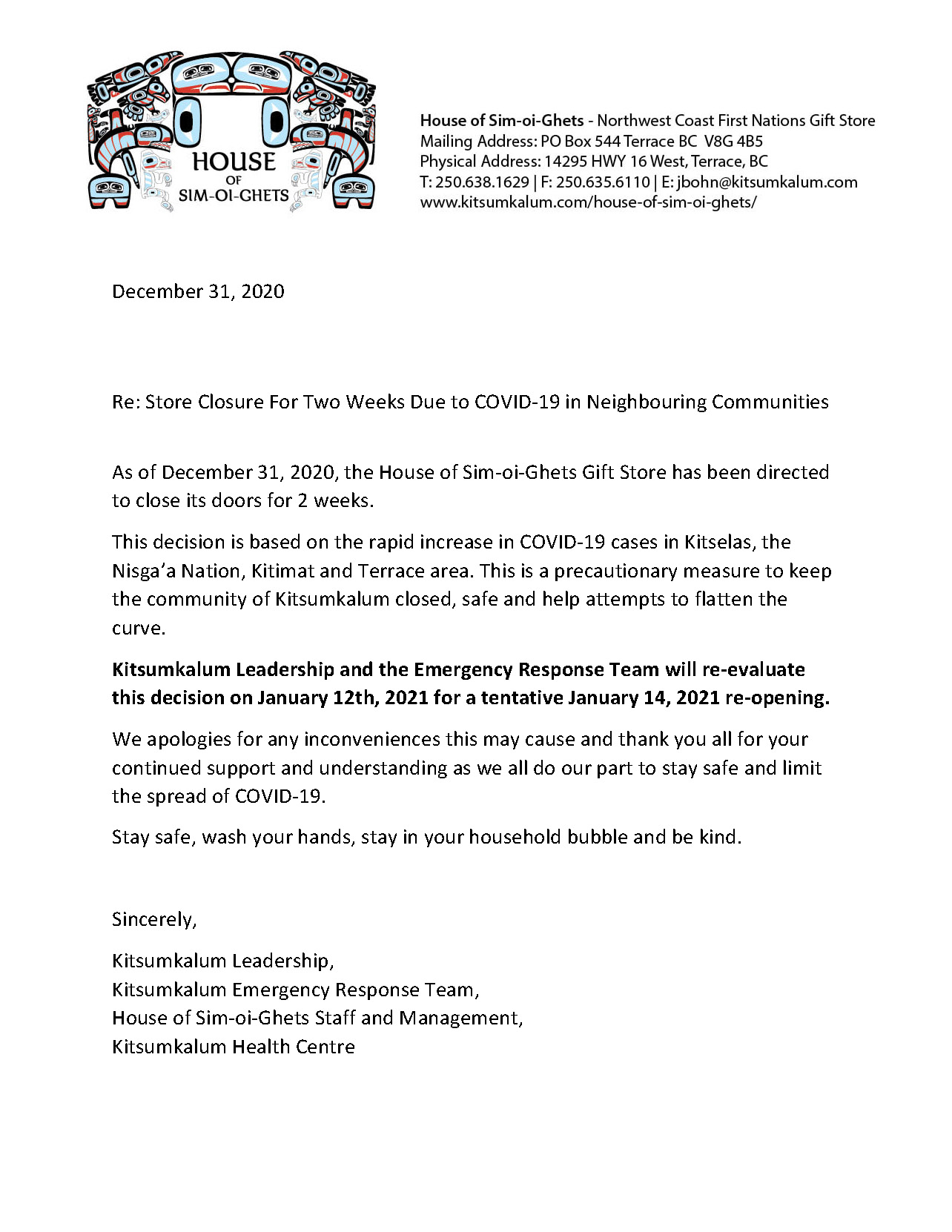 Notice of Closure for House of-Sim-oi-Ghets
