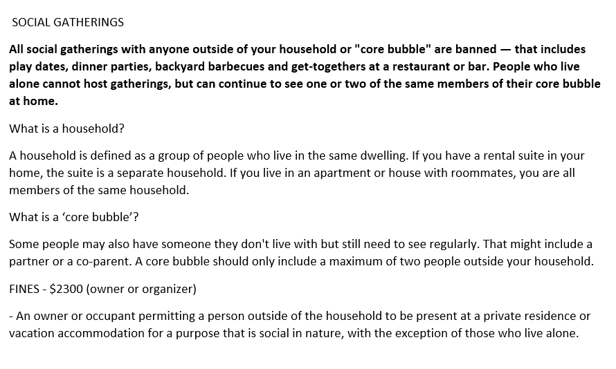 REMINDER: BAN ON SOCIAL GATHERINGS OUTSIDE YOUR HOUSEHOLD