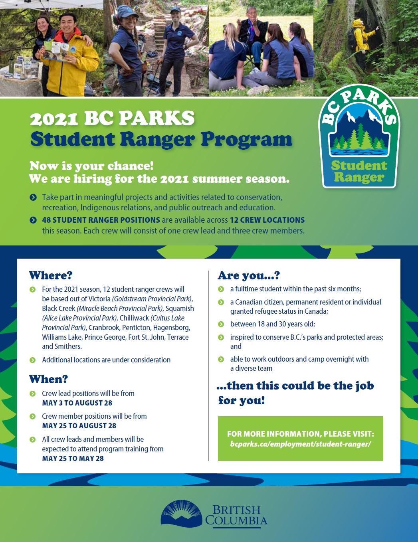 2021 BC Parks Student Ranger Program