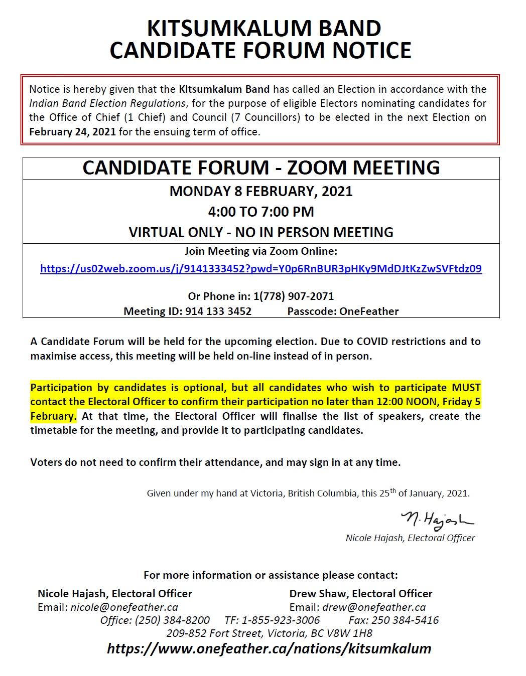 Candidate Forum Zoom Meeting – Kitsumkalum Election 2021 FEB 8th