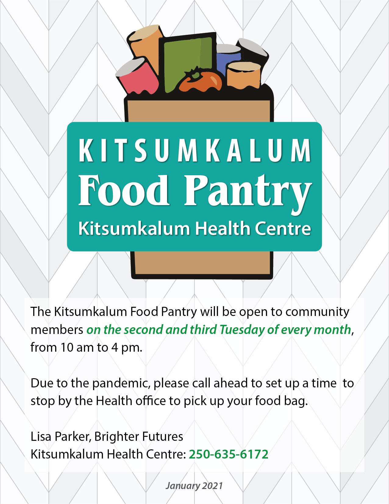 Kitsumkalum Food Pantry Twice a Month at Kitsumkalum Health