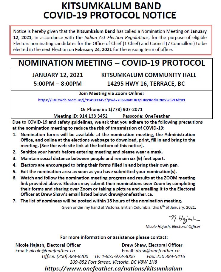 NOMINATION MEETING – COVID-19 PROTOCOL