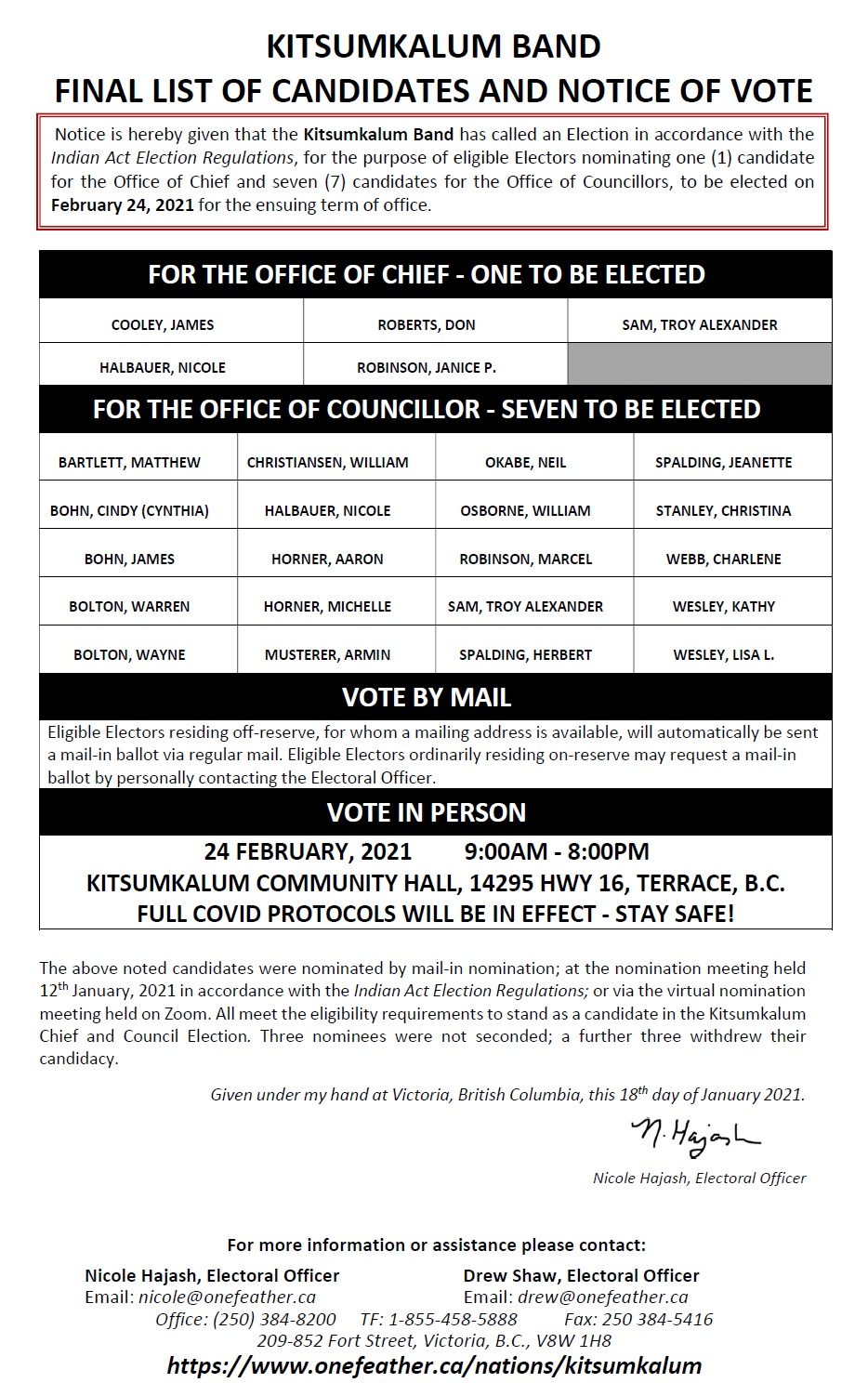 Kitsumkalum Band Final List of Candidates and Notice of Vote