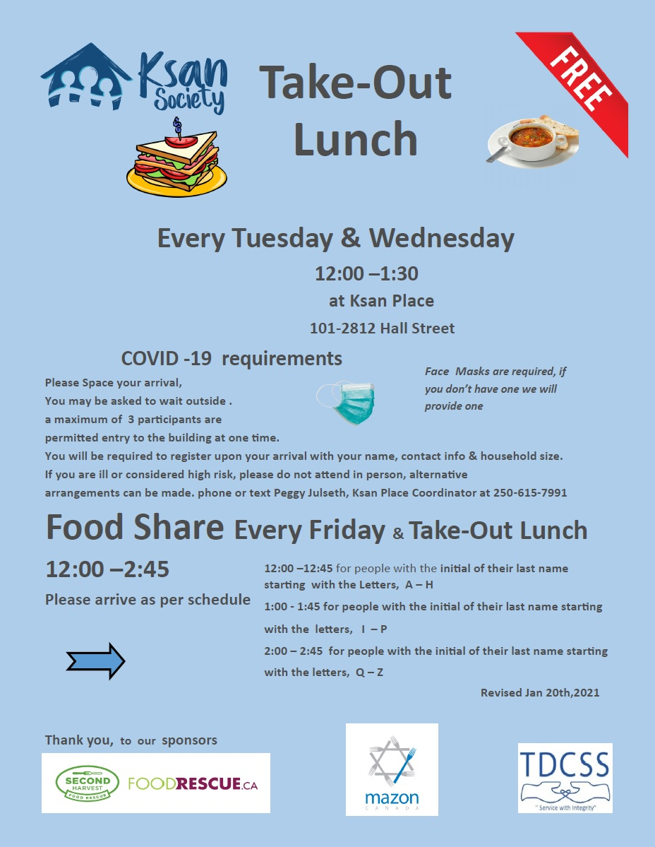 Ksan Society Food Share and Take-Out Lunch