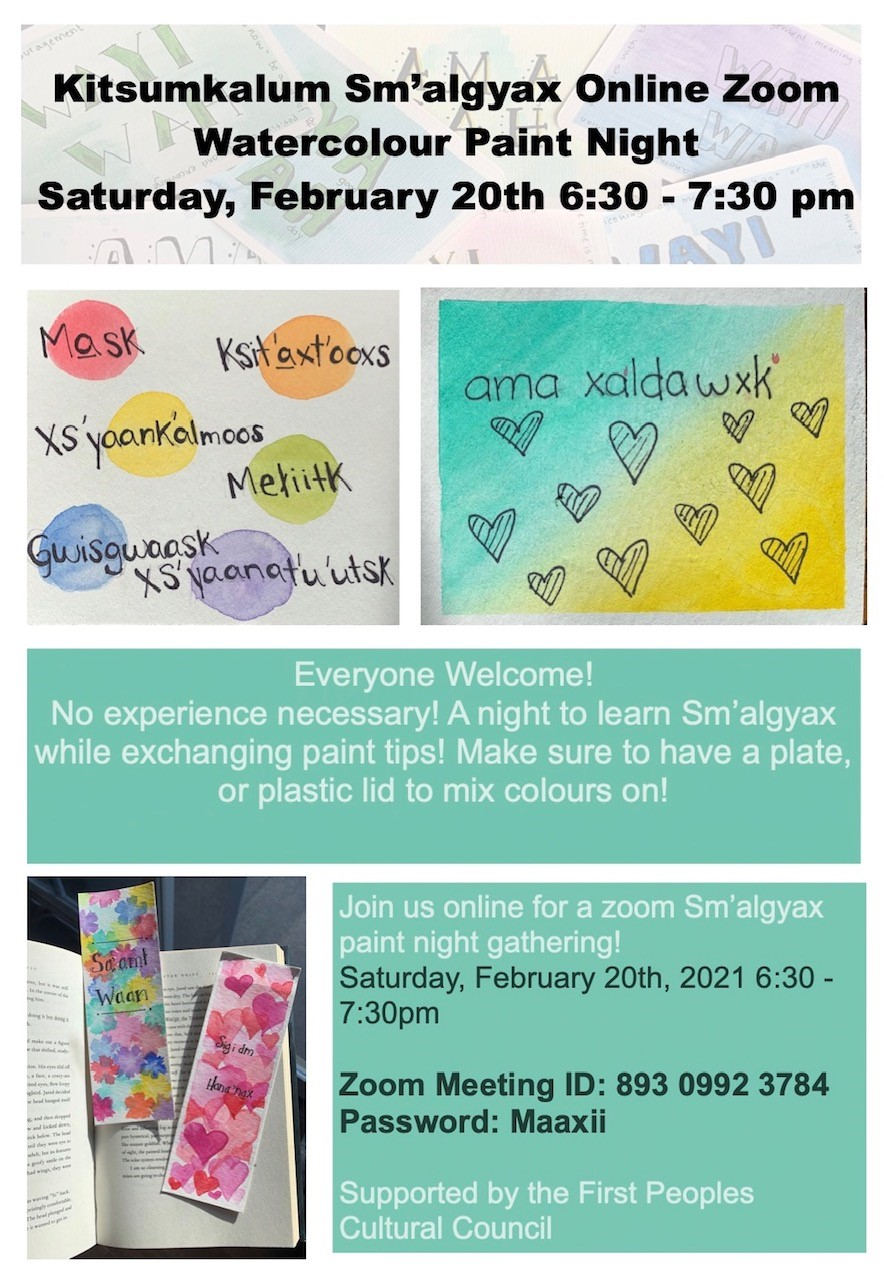 Join Sm'algyax Online Zoom Watercolour Paint Night