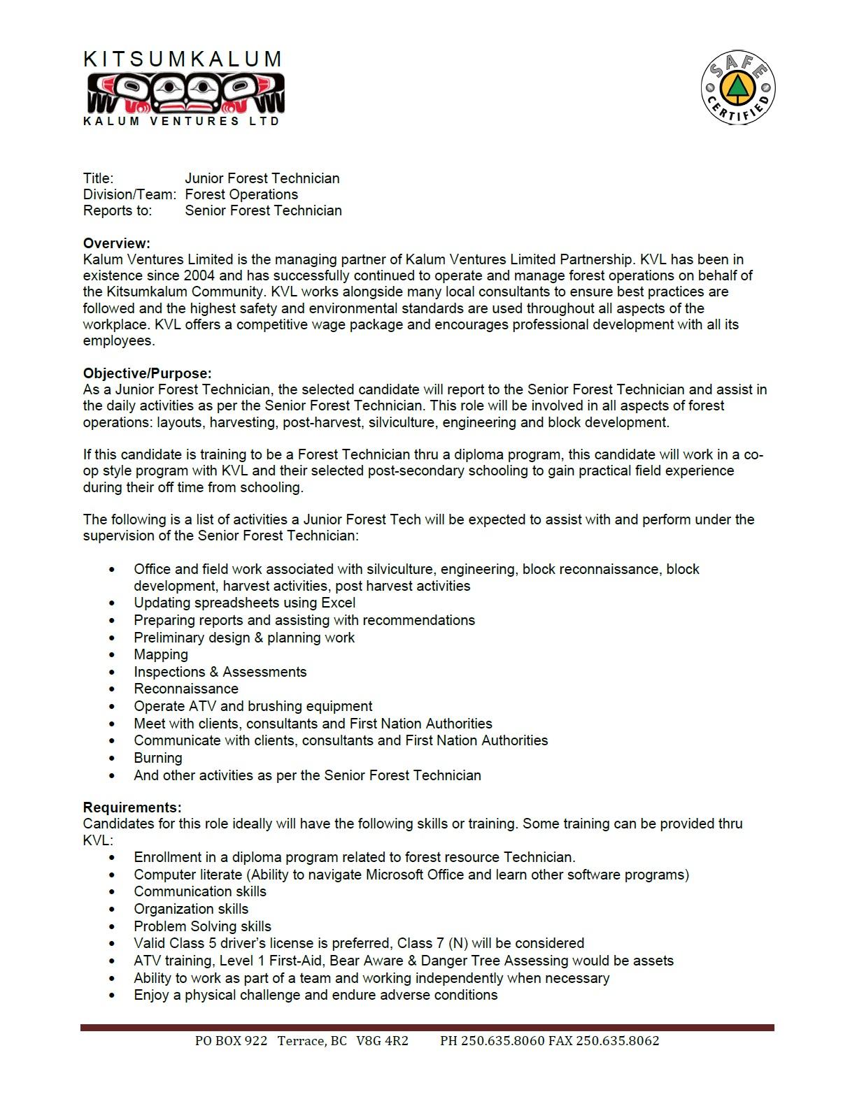 Job Posting with KVL: Junior Forest Technician