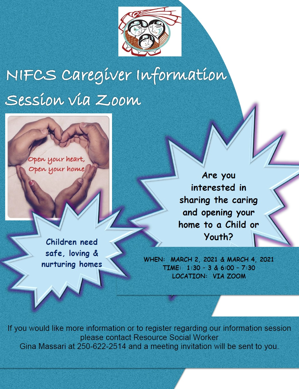 NIFCS Caregiver Information Session on ZOOM March 2 and 4