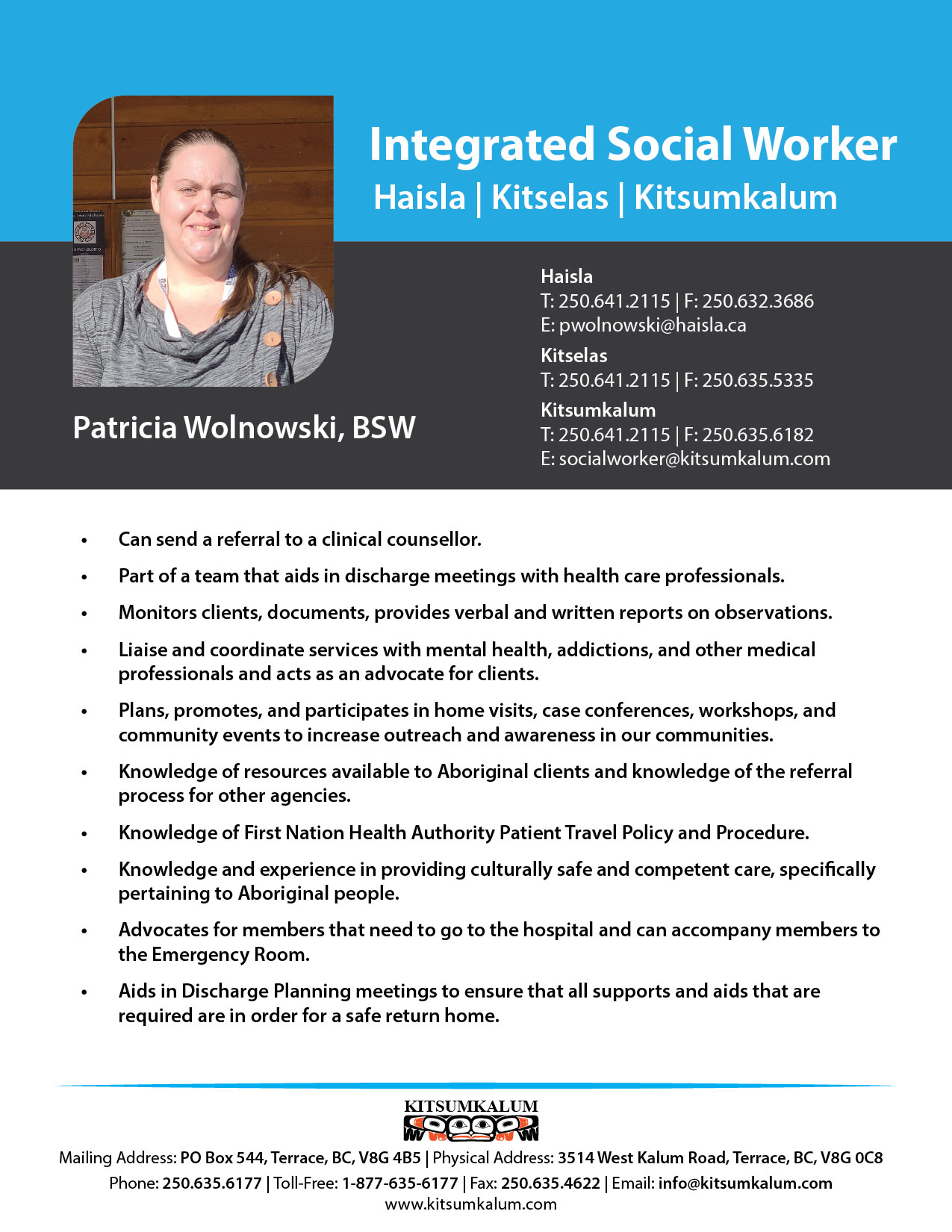 Integrated Social Worker for Haisla, Kitselas and Kitsumkalum