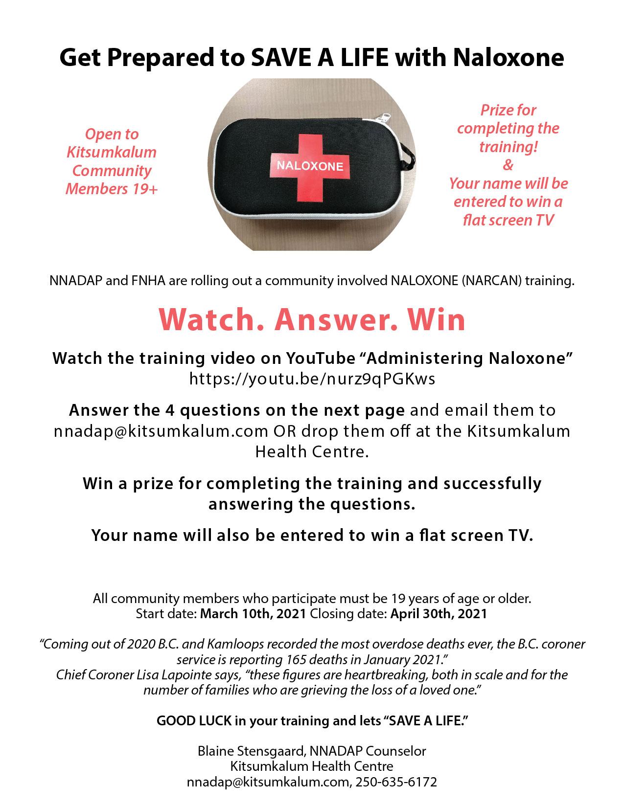 Get Prepared to Save a Life with Naloxone – Kitsumkalum Community Members