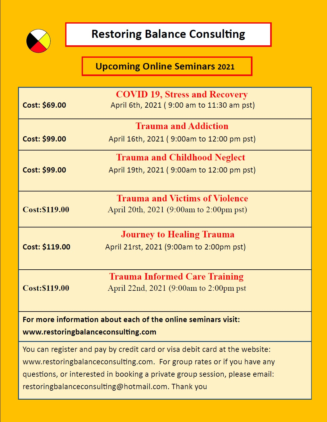 Online Seminars with Restoring Balance Consulting
